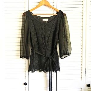 A'reve sheer sleeves lace top